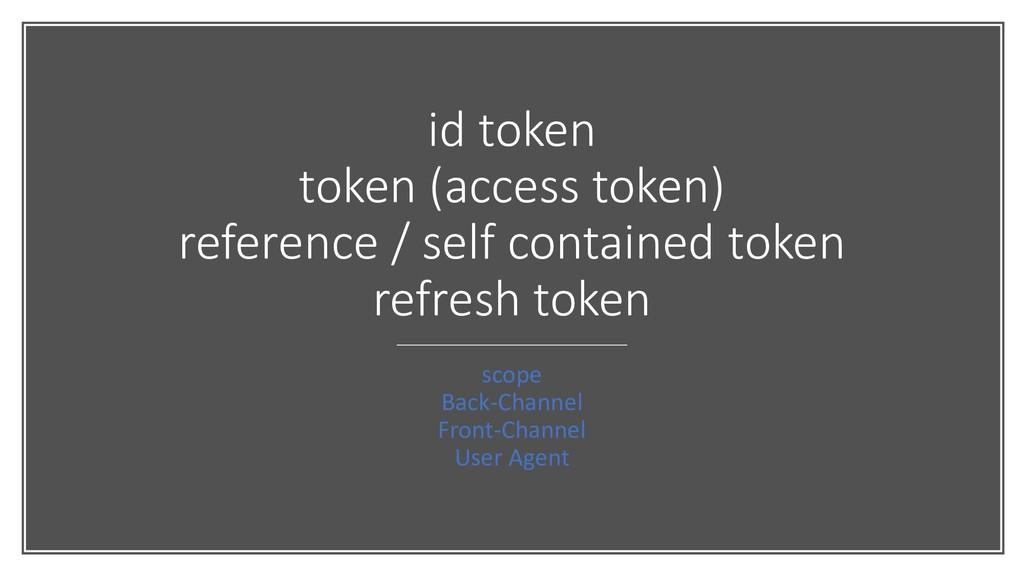 id token token (access token) reference / self ...