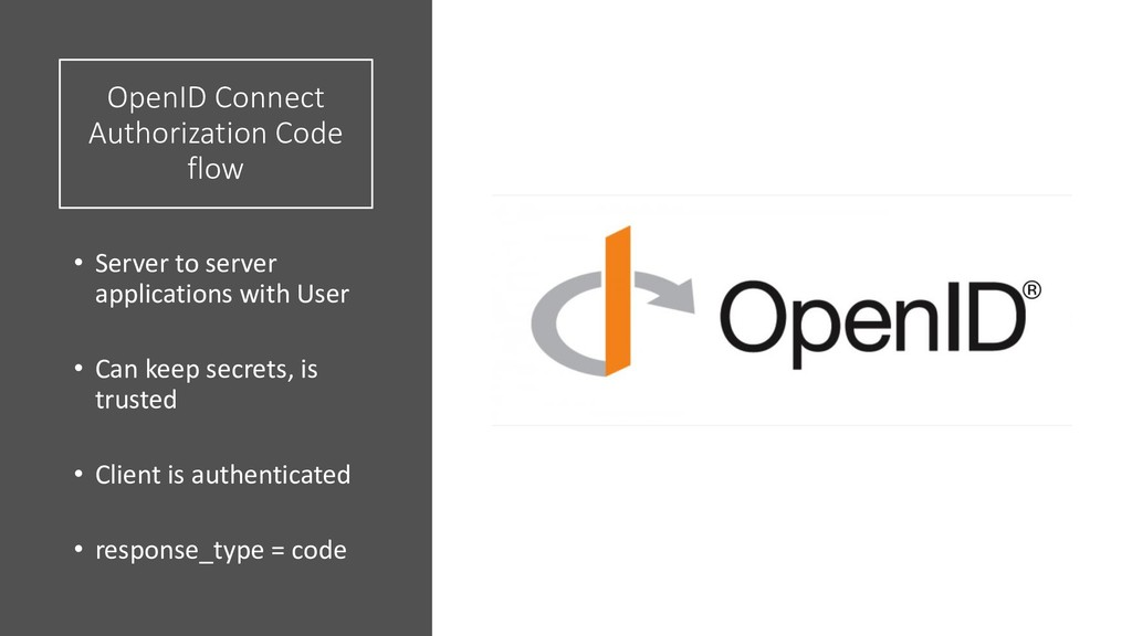 OpenID Connect Authorization Code flow • Server...