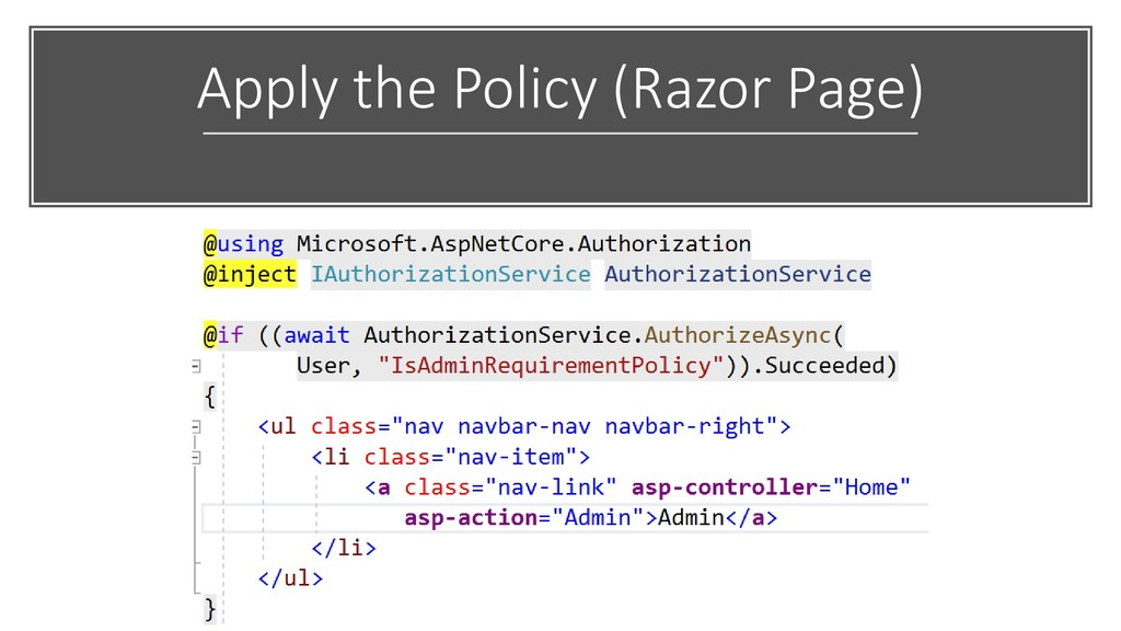 Apply the Policy (Razor Page)