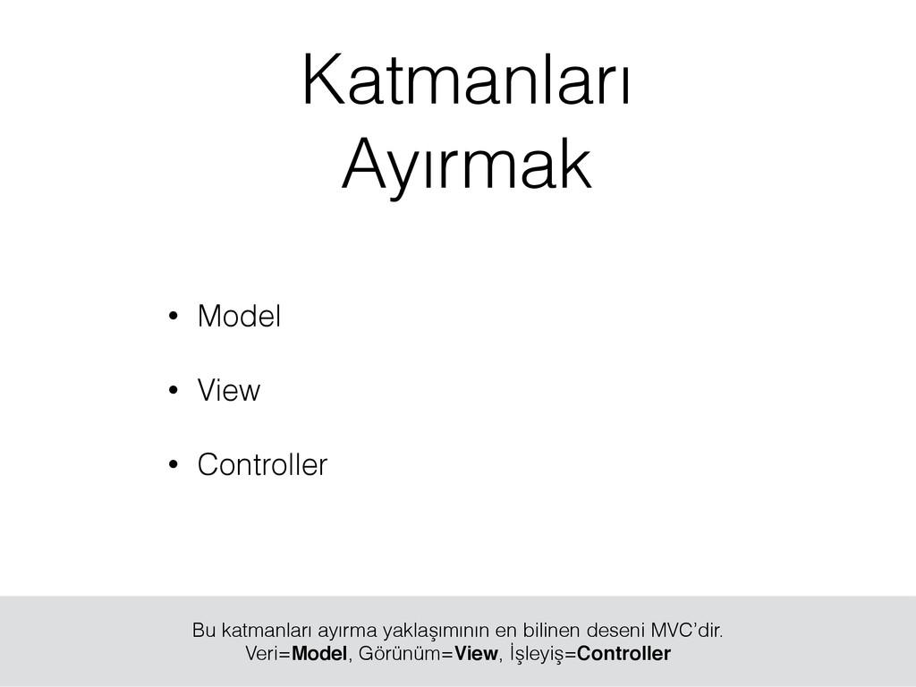 • Model • View • Controller Bu katmanları ayırm...