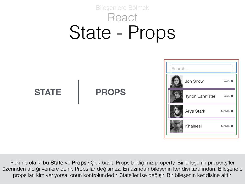 PROPS STATE React Bileşenlere Bölmek State - Pr...