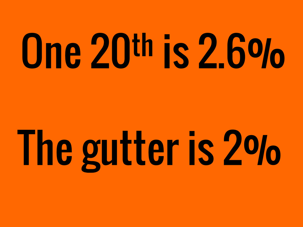 One 20th is 2.6% The gutter is 2%