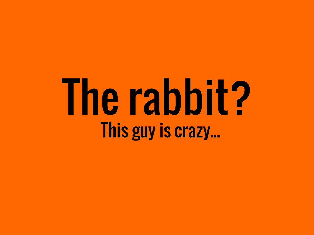 The rabbit? This guy is crazy...