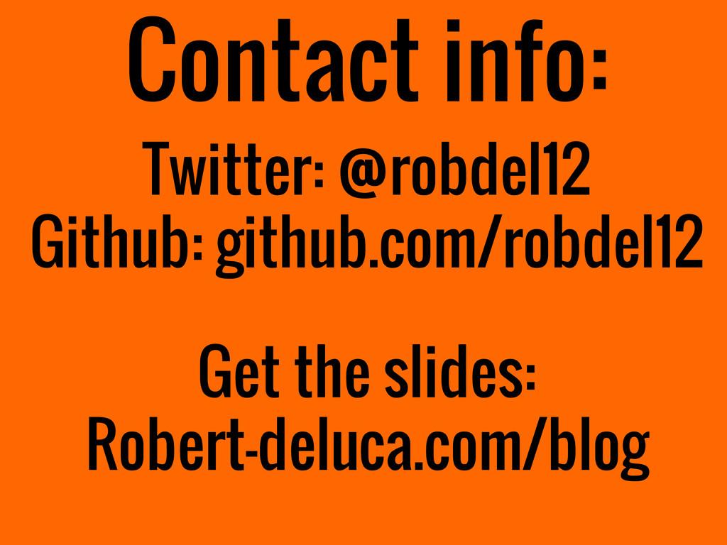 Contact info: Twitter: @robdel12 Github: github...