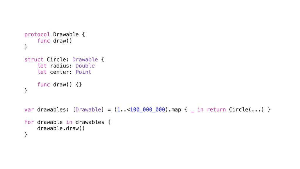 protocol Drawable { func draw() } struct Circle...