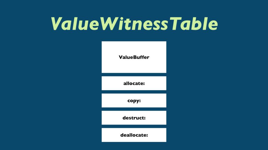 ValueWitnessTable ValueBuffer allocate: copy: d...