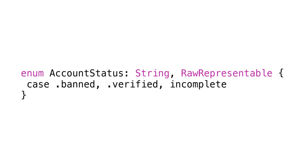 enum AccountStatus: String, RawRepresentable { ...