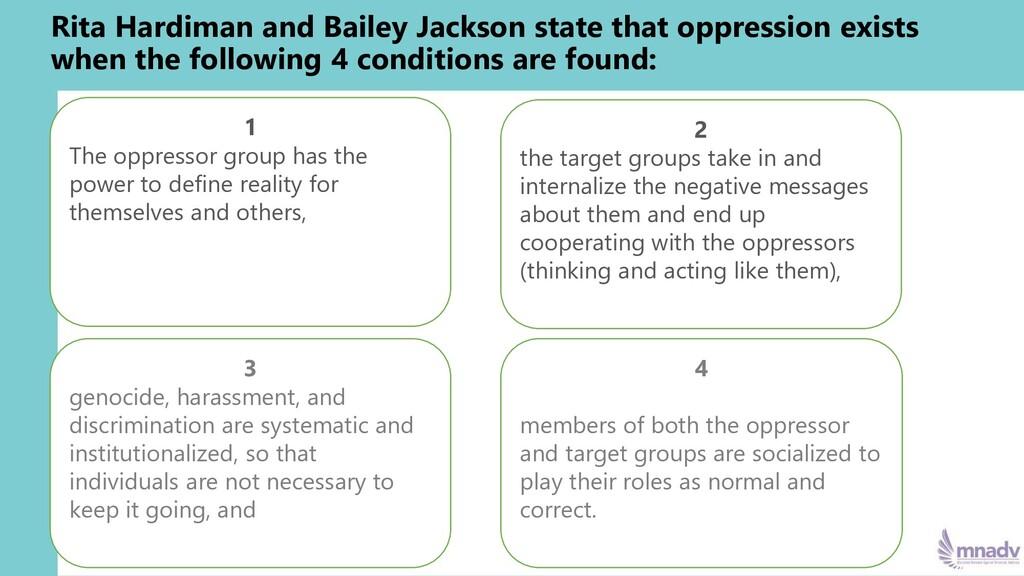 Rita Hardiman and Bailey Jackson state that opp...