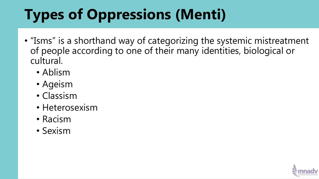 """Types of Oppressions (Menti) • """"Isms"""" is a shor..."""