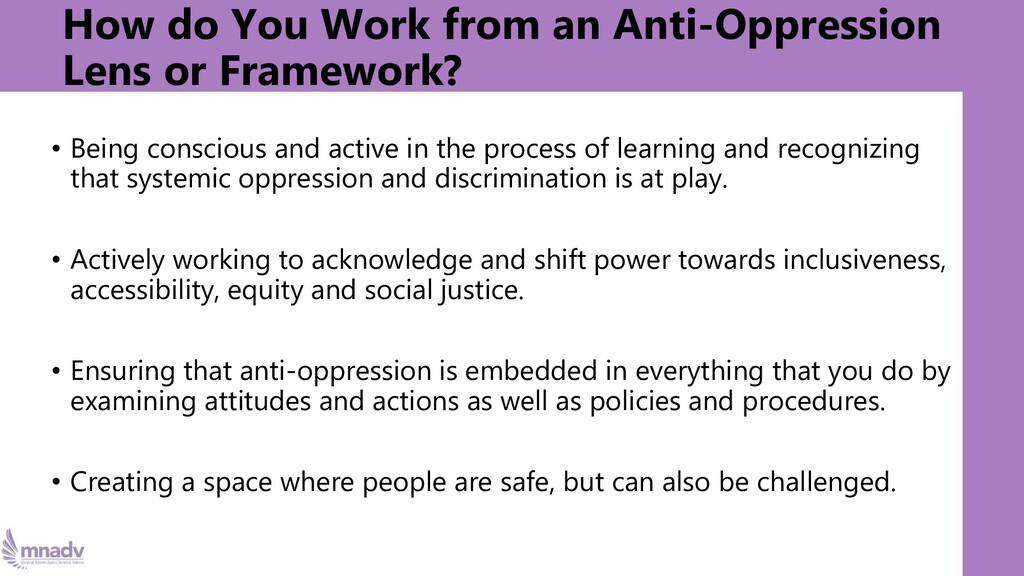 How do You Work from an Anti-Oppression Lens or...