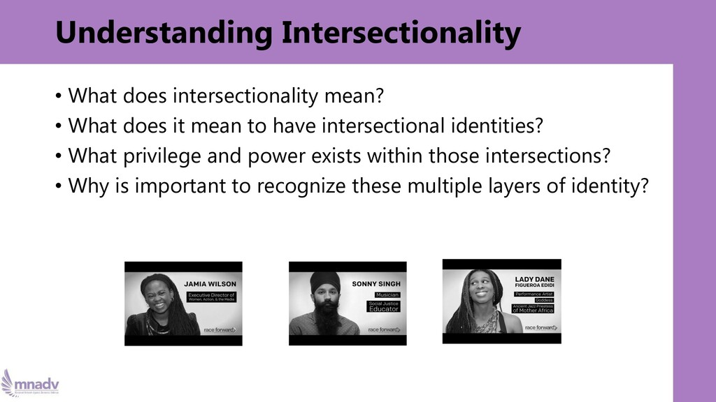 Understanding Intersectionality • What does int...