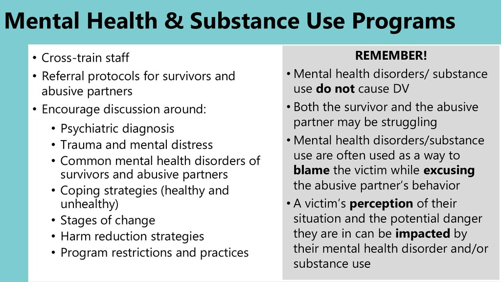 Mental Health & Substance Use Programs • Cross-...