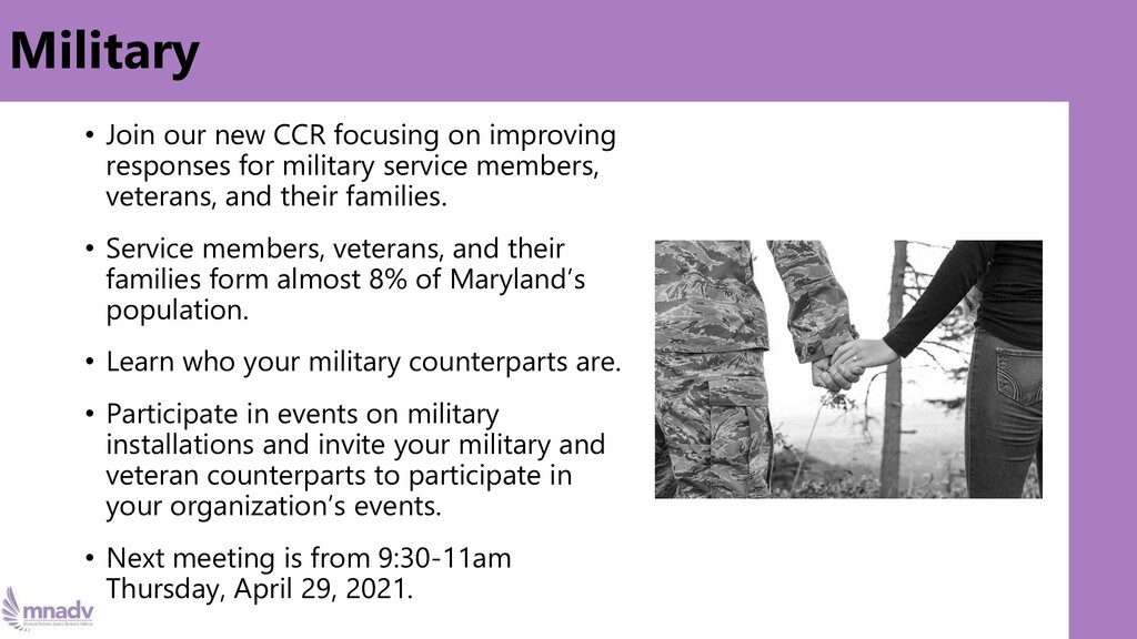 Military • Join our new CCR focusing on improvi...