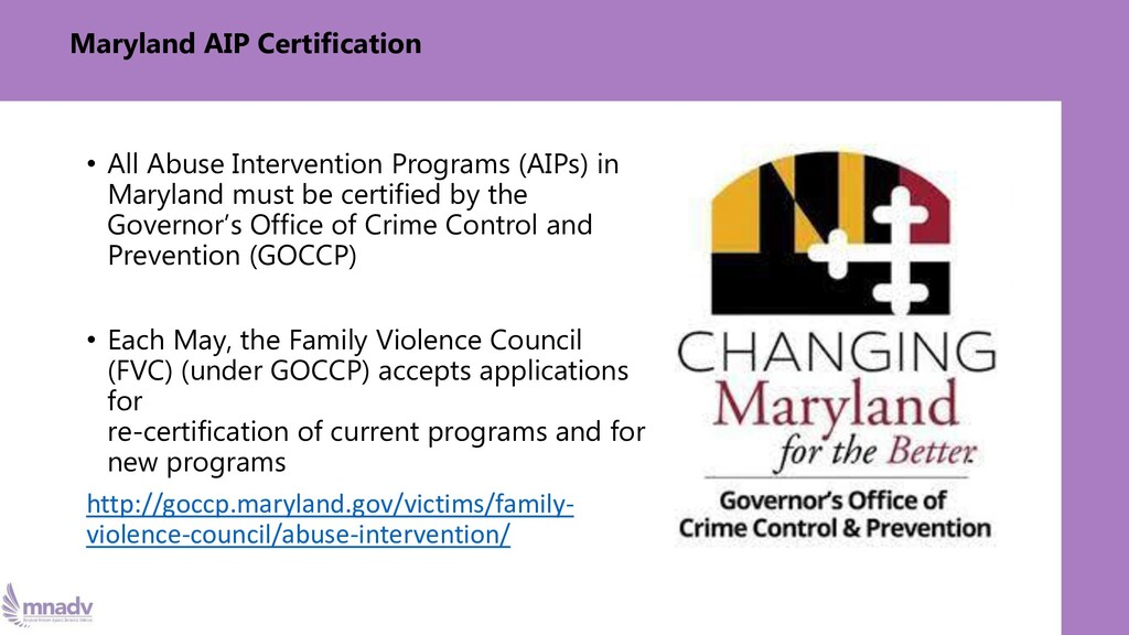 Maryland AIP Certification • All Abuse Interven...