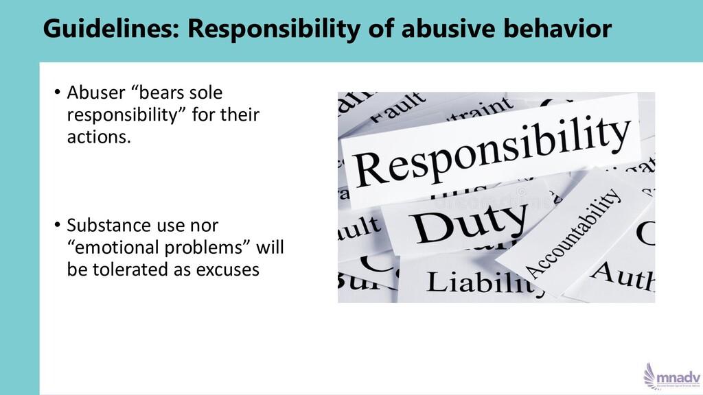 Guidelines: Responsibility of abusive behavior ...