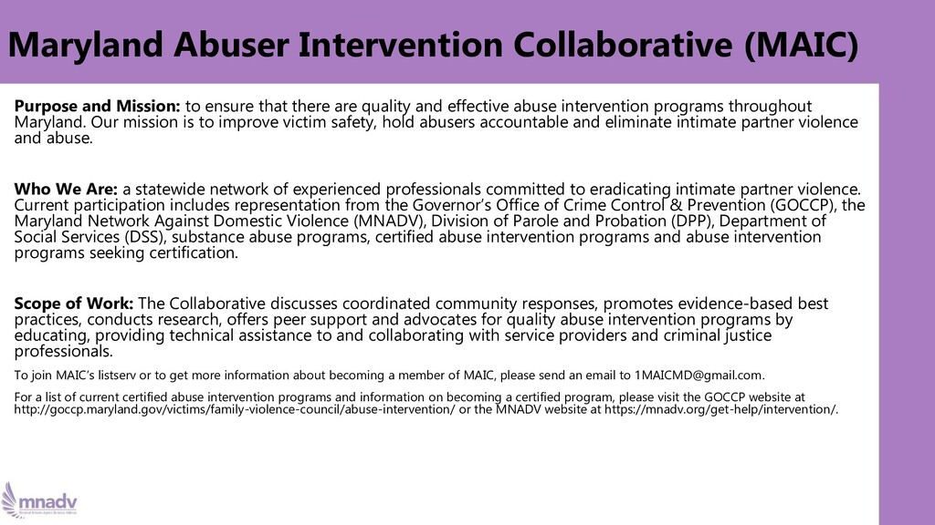 Maryland Abuser Intervention Collaborative (MAI...