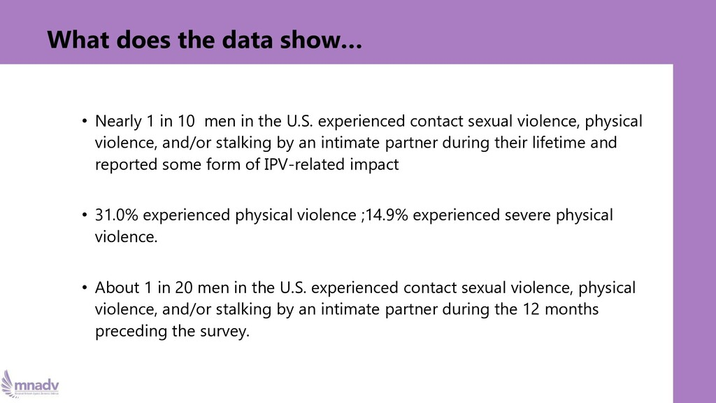 What does the data show… • Nearly 1 in 10 men i...