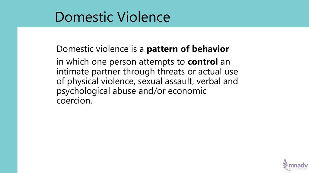 Domestic violence is a pattern of behavior in w...
