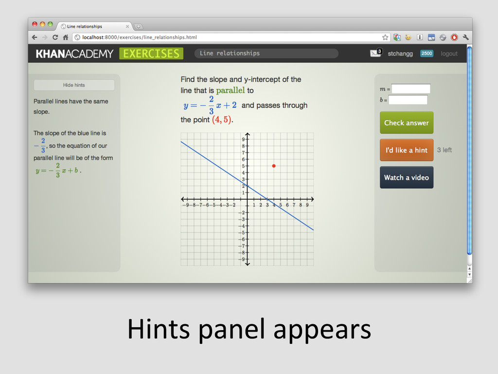 Hints panel appears