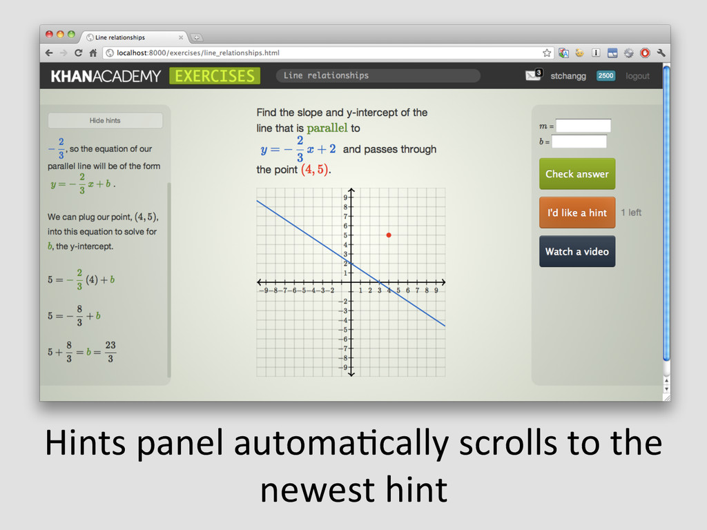 Hints panel automaEcally scrolls to...