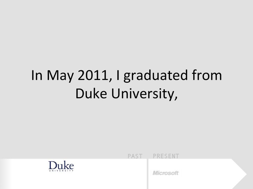 PAST PRESENT In May 2011, I graduat...