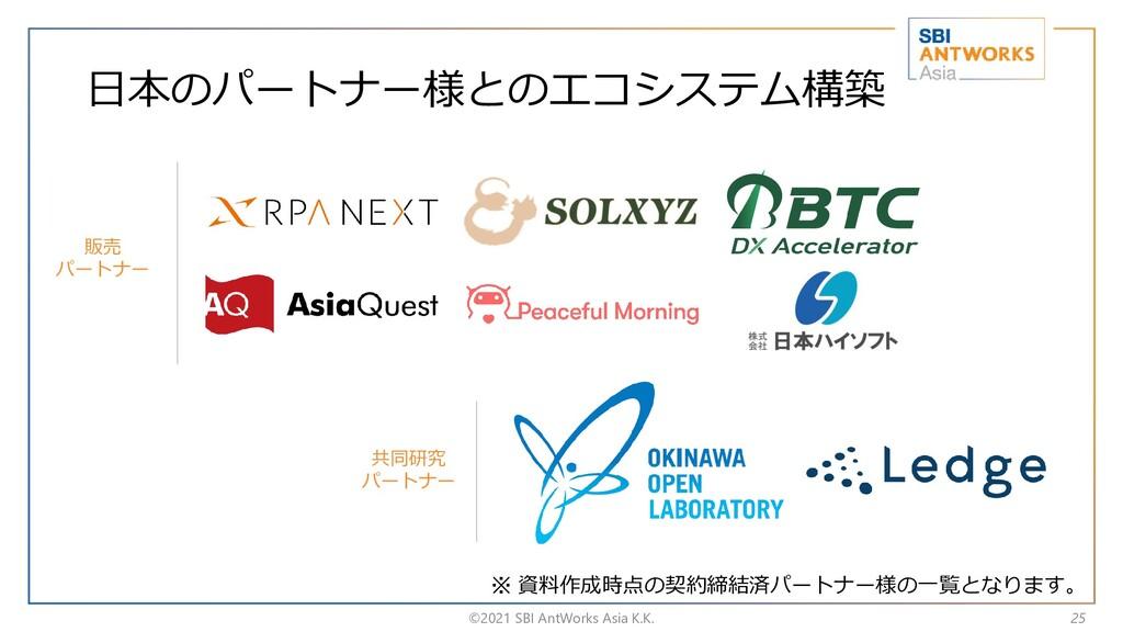 日本のパートナー様とのエコシステム構築 ©2021 SBI AntWorks Asia K.K...