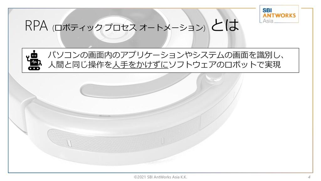 RPA (ロボティック プロセス オートメーション) とは ©2021 SBI AntWork...