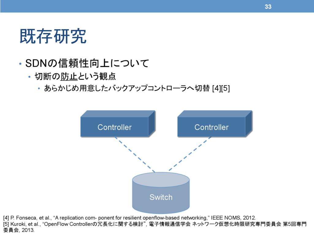 既存研究 33 • SDNの信頼性向上について • 切断の防止という観点 • あらか...