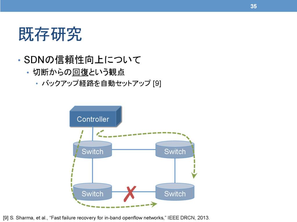 既存研究 35 • SDNの信頼性向上について • 切断からの回復という観点 • バ...
