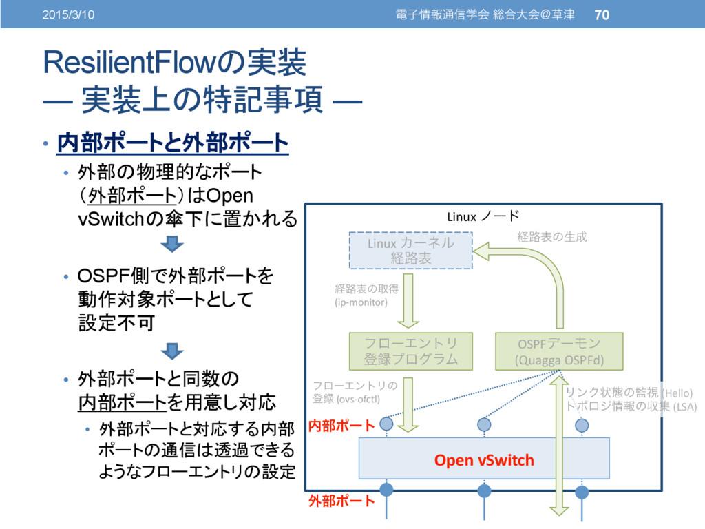 ResilientFlowの実装 ― 実装上の特記事項 ― • 内部ポートと外部ポート ...