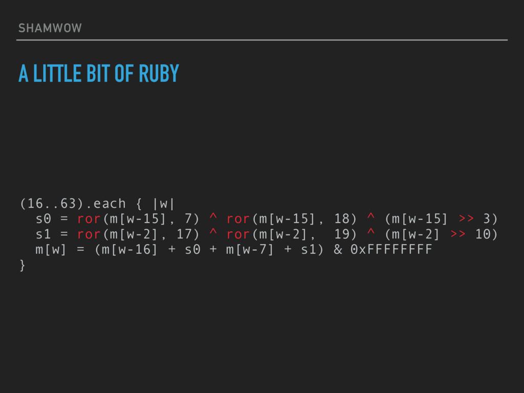 SHAMWOW A LITTLE BIT OF RUBY (16..63).each { |w...