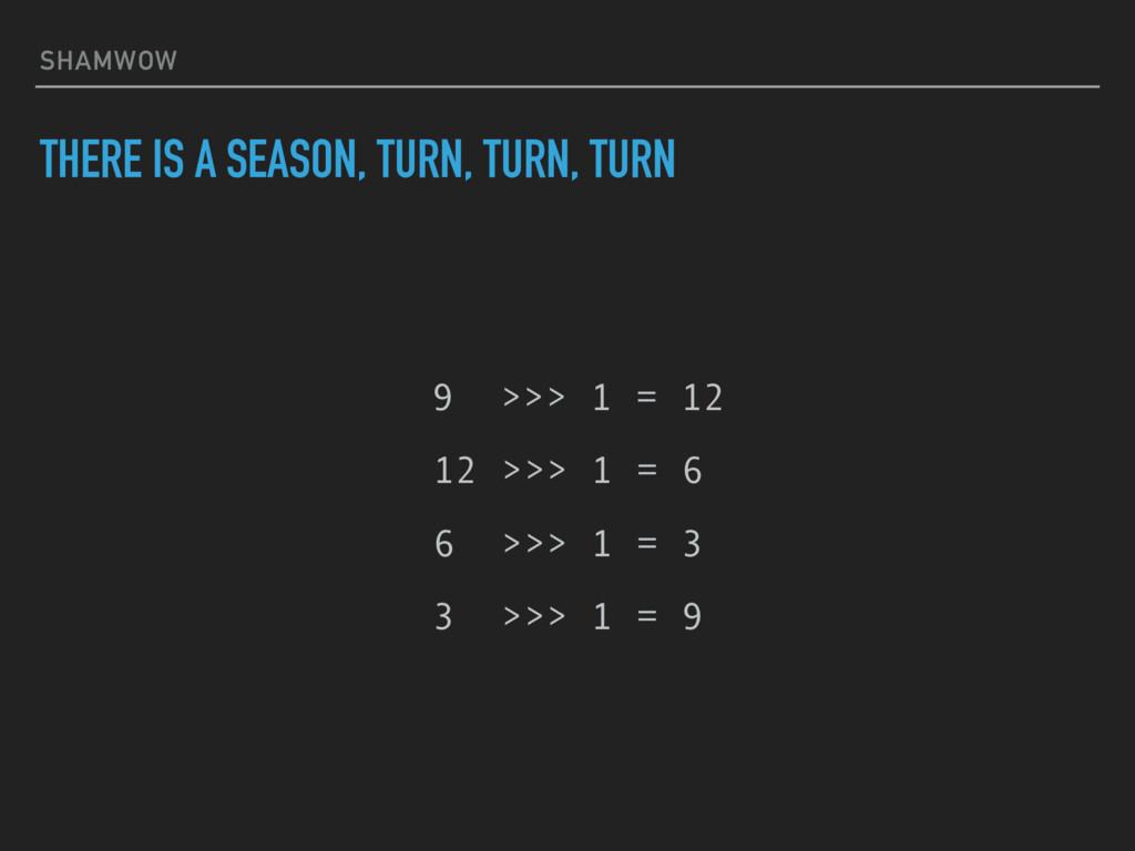 SHAMWOW THERE IS A SEASON, TURN, TURN, TURN 9 >...