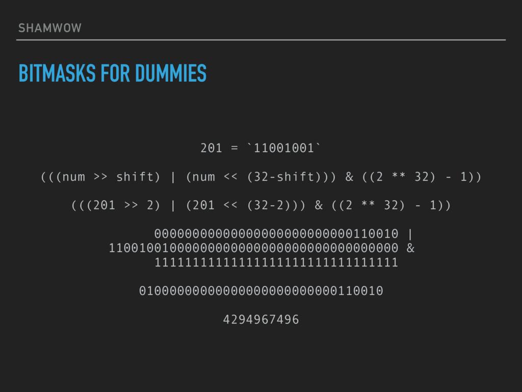 SHAMWOW BITMASKS FOR DUMMIES 201 = `11001001` (...