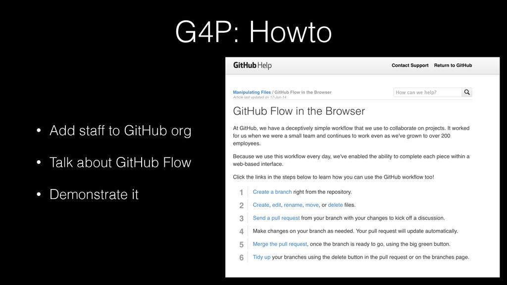 G4P: Howto • Add staff to GitHub org • Talk abo...
