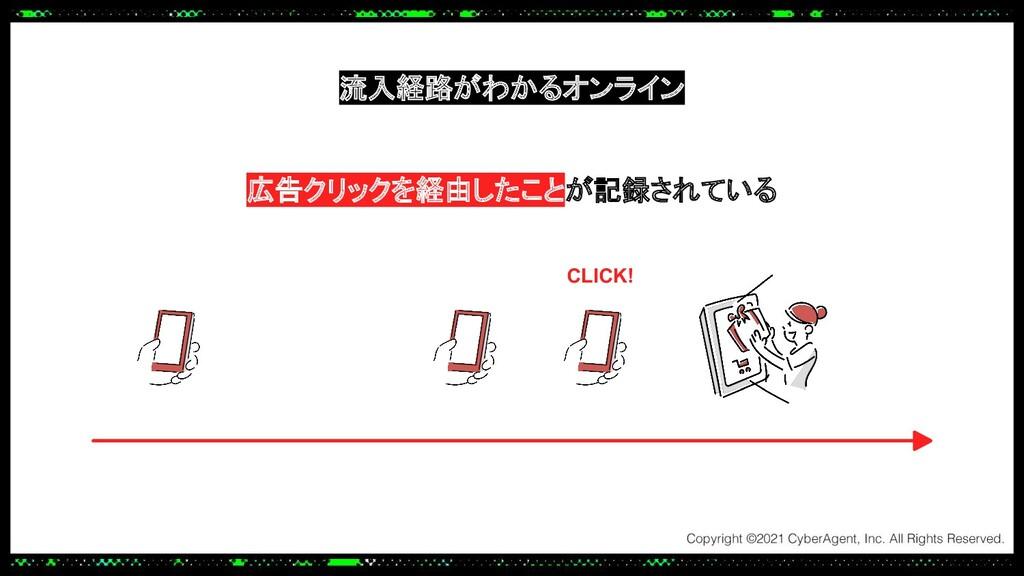 CLICK! 広告クリックを経由したことが記録されている 流入経路がわかるオンライン