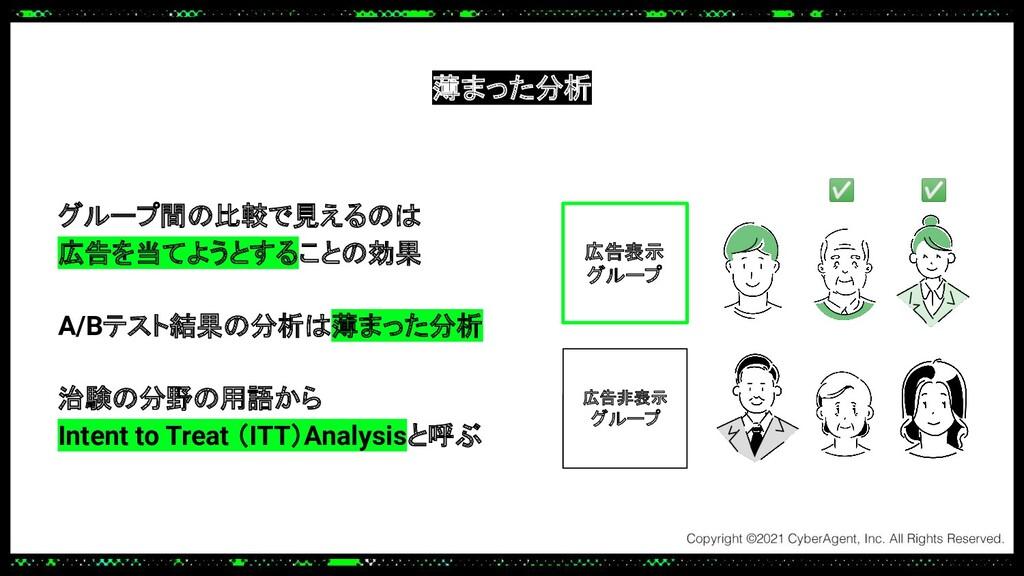 薄まった分析 グループ間の比較で見えるのは 広告を当てようとすることの効果 A/Bテスト結果の...
