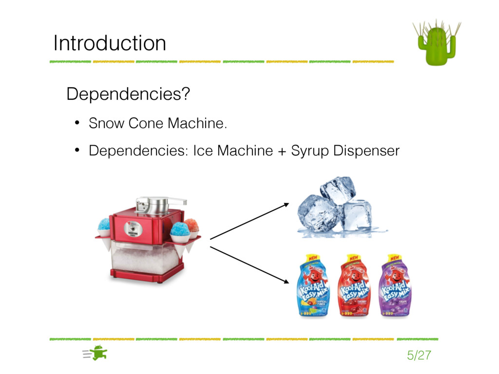Dependencies? • Snow Cone Machine. • Dependenci...