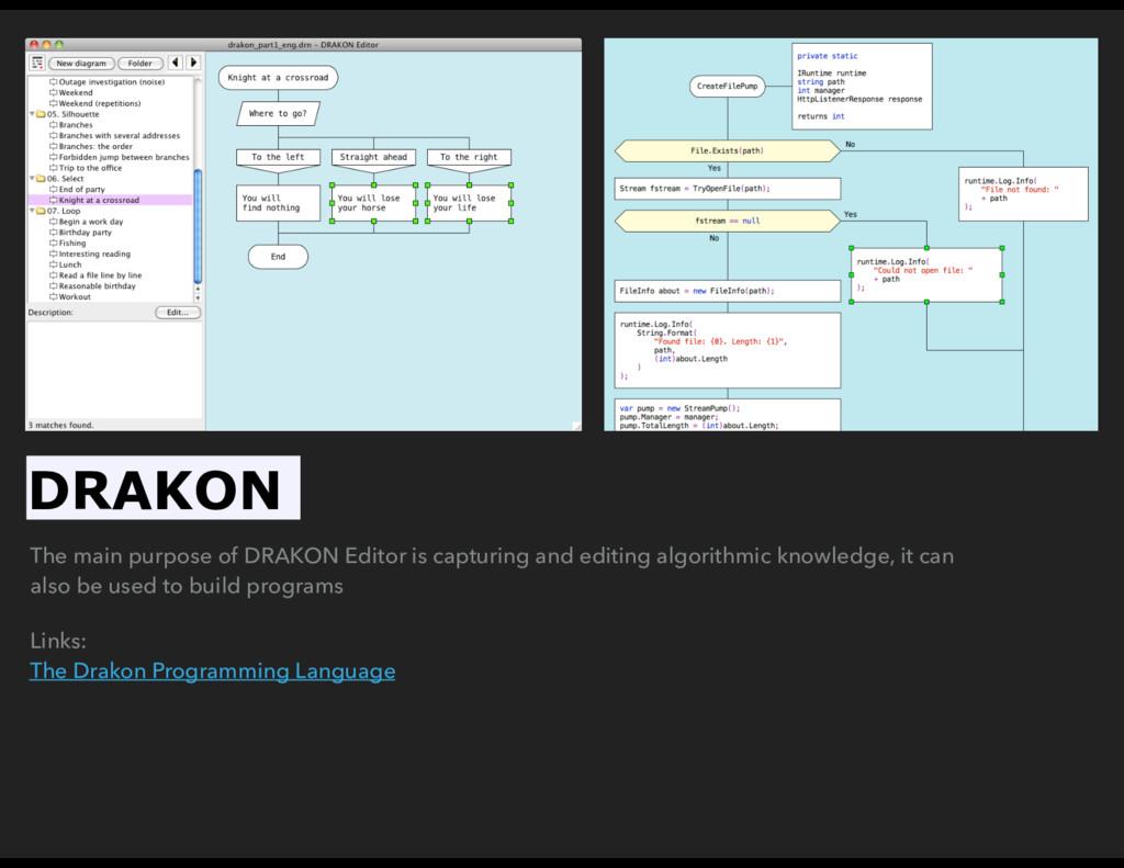 The main purpose of DRAKON Editor is capturing ...