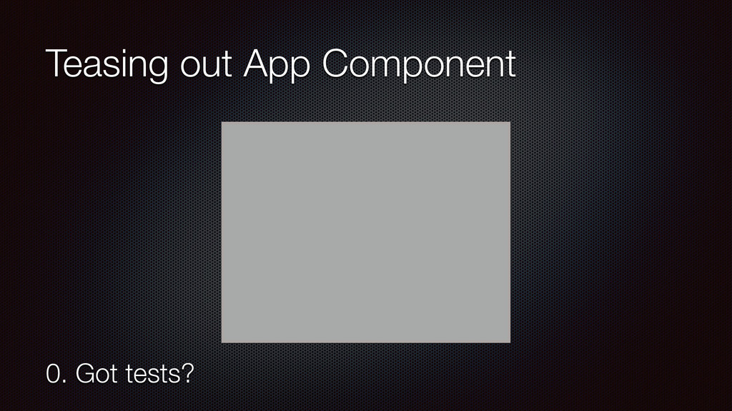 Teasing out App Component 0. Got tests?