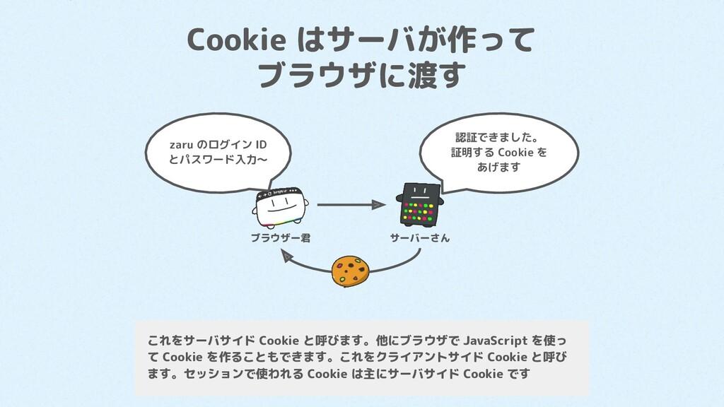 Cookie はサーバが作って ブラウザに渡す zaru のログイン ID とパスワード入力〜...