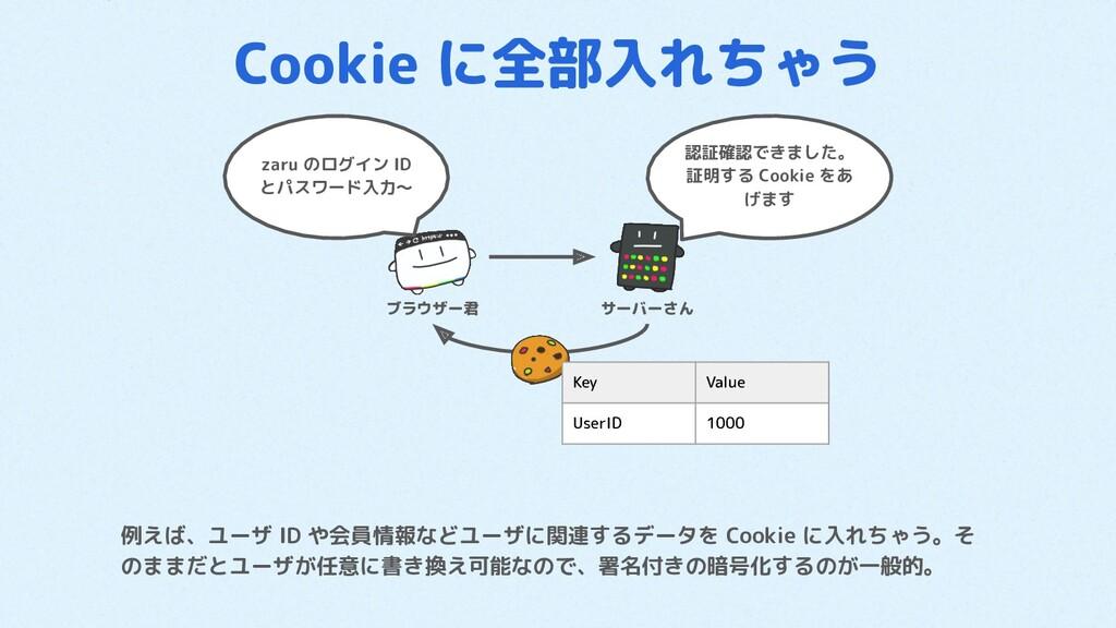 Cookie に全部入れちゃう 例えば、ユーザ ID や会員情報などユーザに関連するデータを ...
