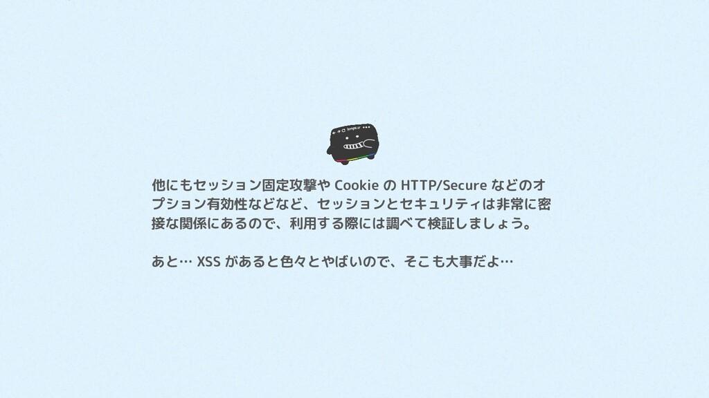 他にもセッション固定攻撃や Cookie の HTTP/Secure などのオ プション有効性...