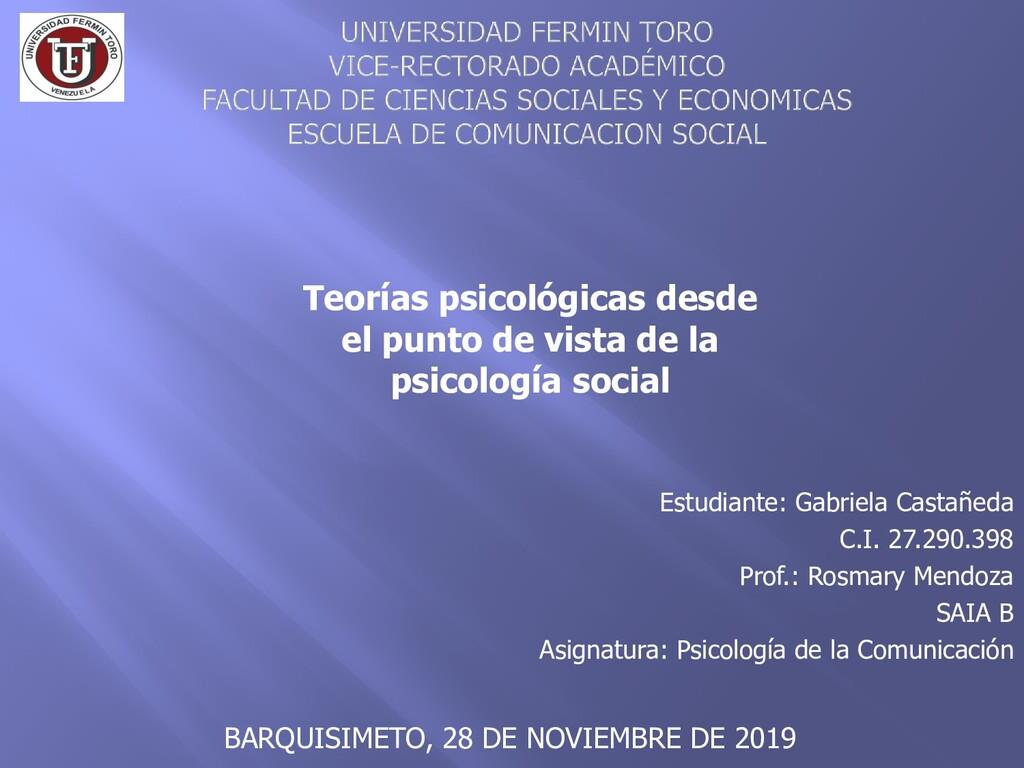 Estudiante: Gabriela Castañeda C.I. 27.290.398 ...