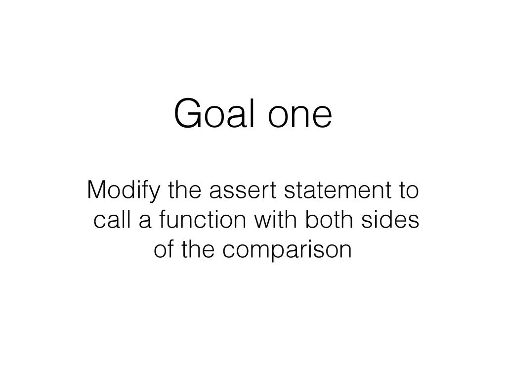 Goal one Modify the assert statement to
