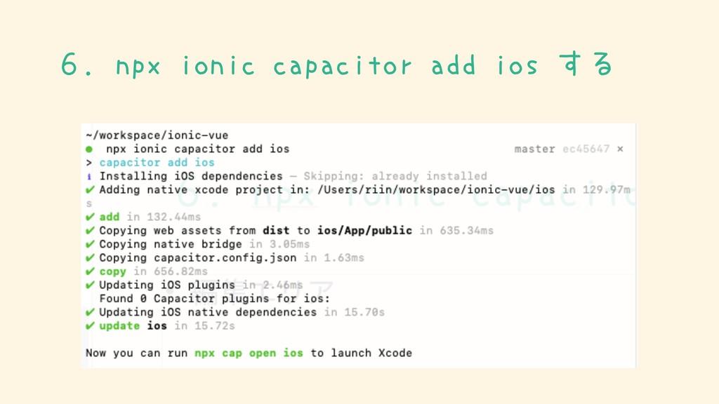 6.npx ionic capacitor add ios する