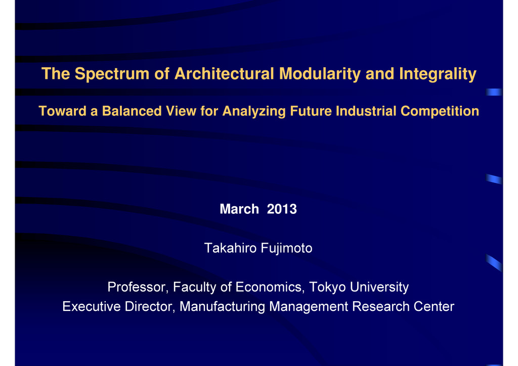 The Spectrum of Architectural Modularity and In...