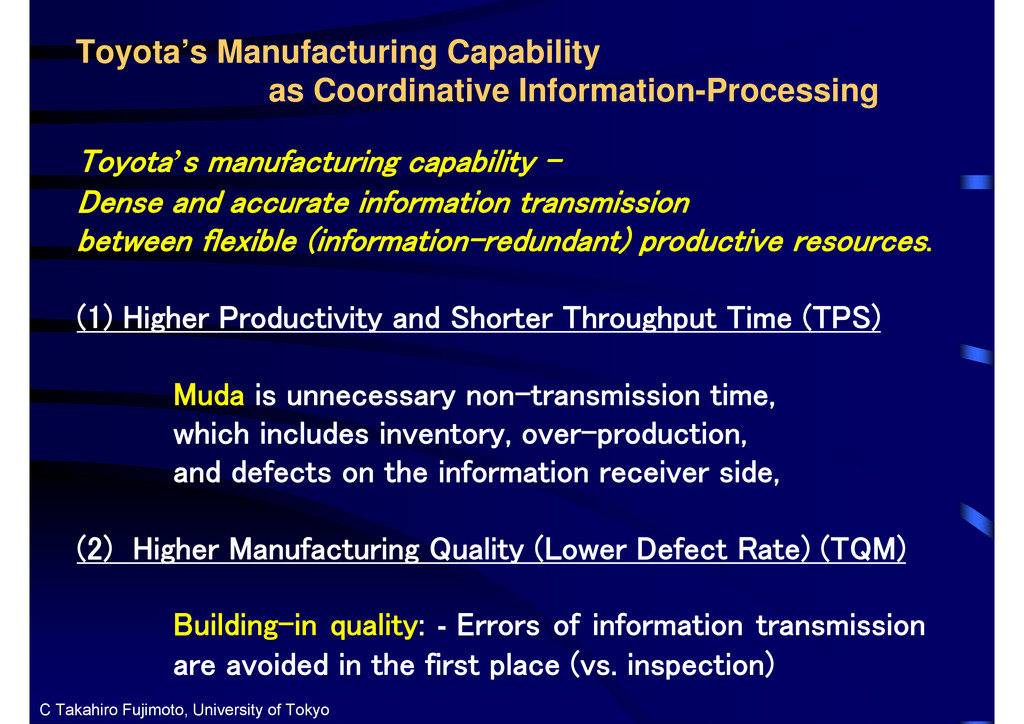 Toyota's Manufacturing Capability as Coordinati...