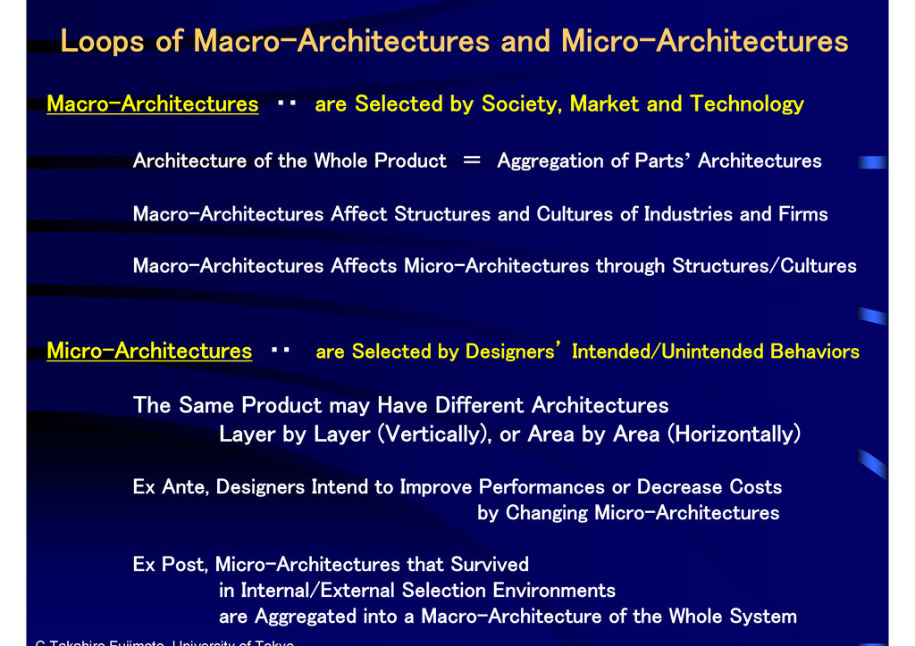 Macro-Architectures ・・ are Selected by Society,...