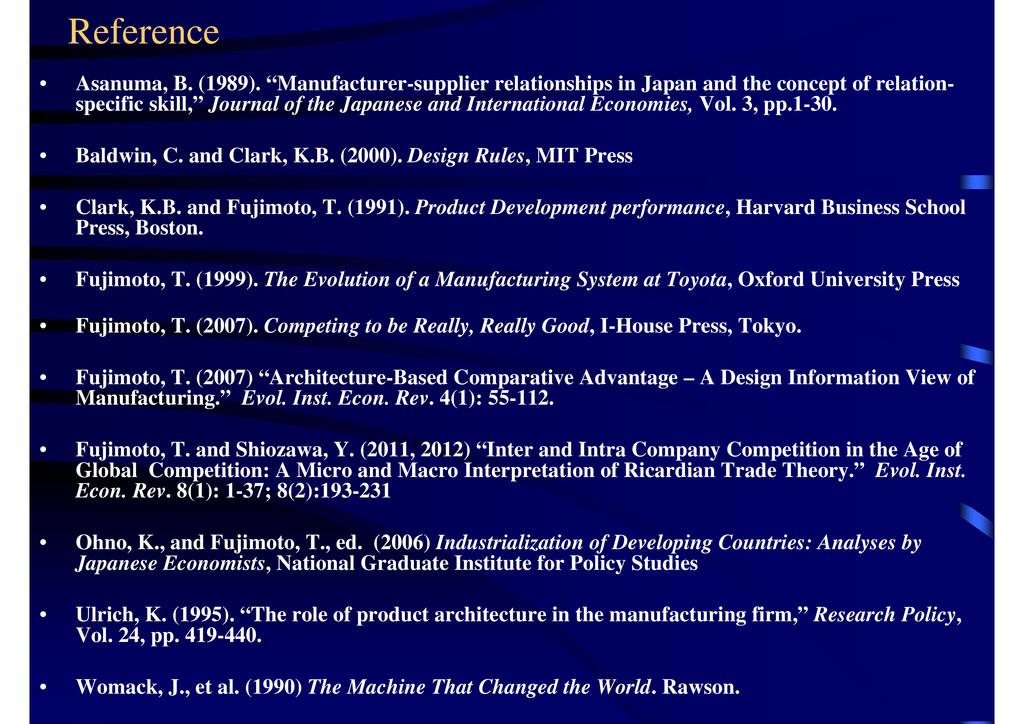 "Reference • Asanuma, B. (1989). ""Manufacturer-s..."