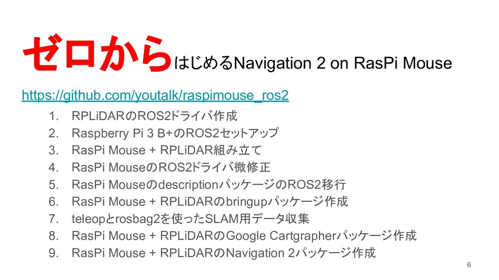 ゼロから じめるNavigation 2 on RasPi Mouse https://git...